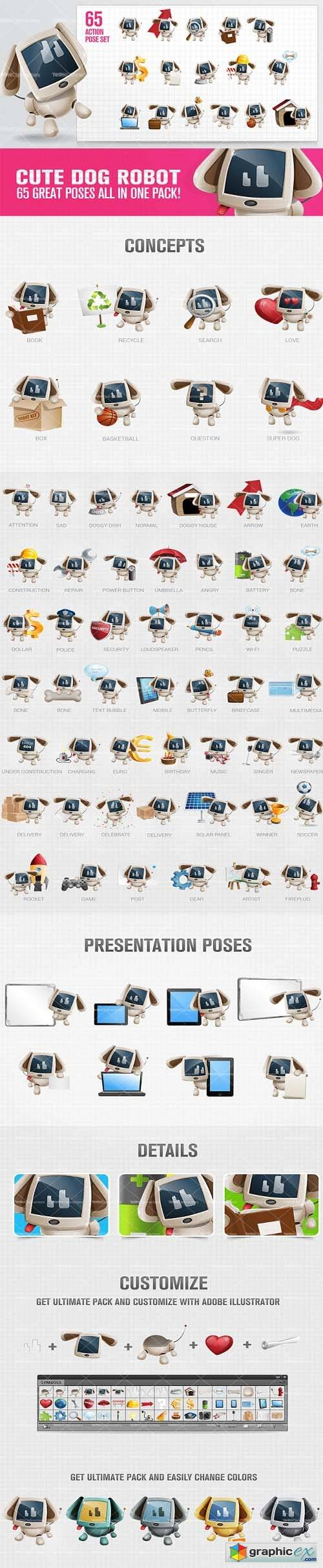Cute Dog Robot Cartoon Character Set