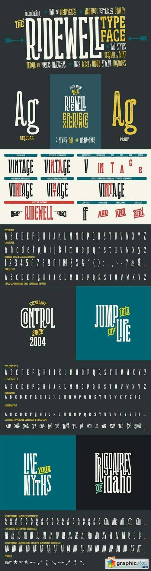 Ridewell Font Family - 2 Fonts 75$