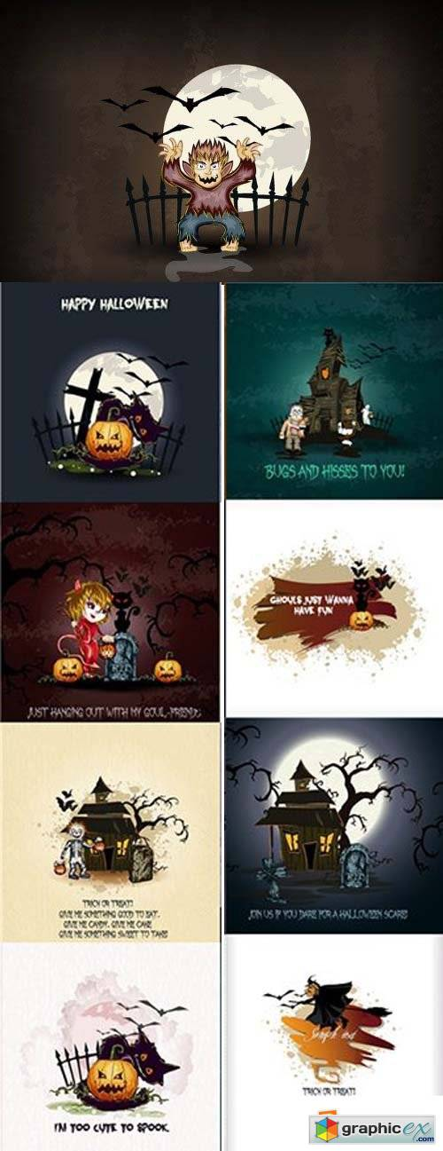 Happy Halloween Vector Set 3