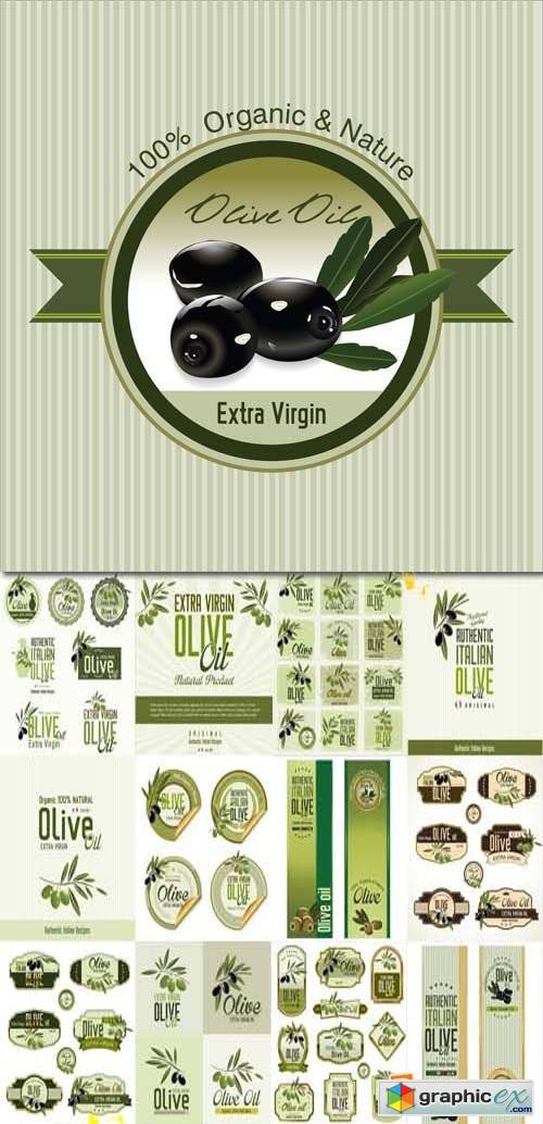 Olive backgrounds, banners and labels collection, 27xEPS