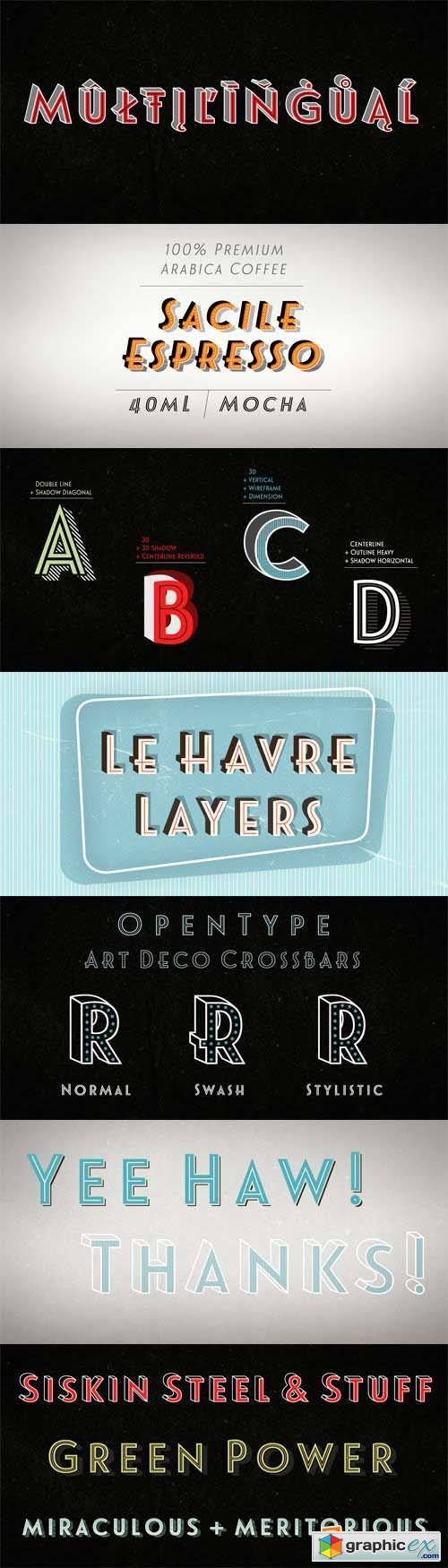 Le Havre Layers Font Family - 21 Fonts for $69