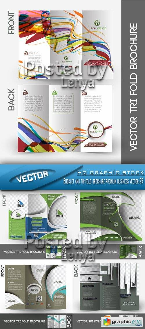 Stock Vector - Booklet and tri-fold brochure premium business vector 29