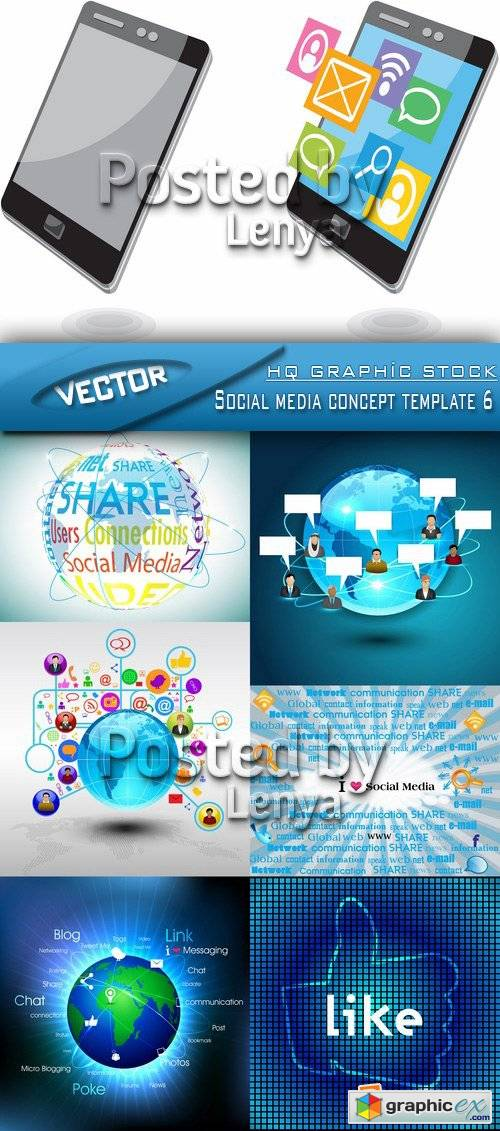 Stock Vector - Social media concept template 6
