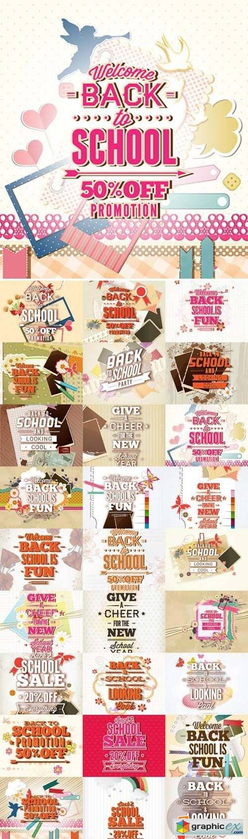 Back to School Promotion Vectors Set 30xEPS