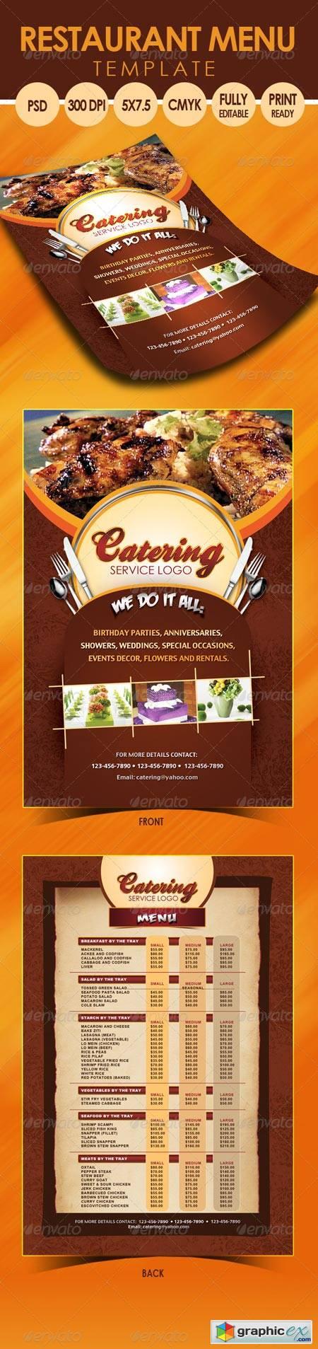 catering menu template free