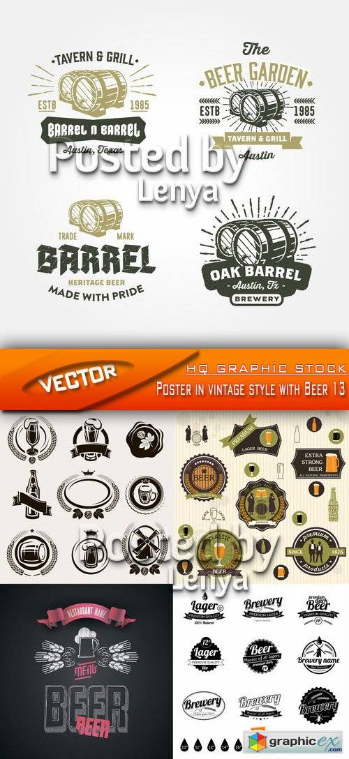 Stock Vector - Poster in vintage style with Beer 13