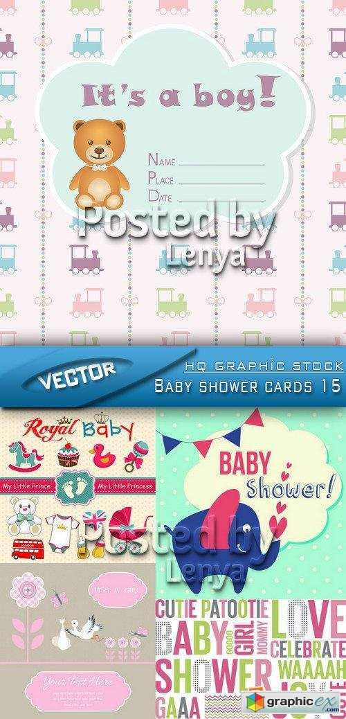 Stock Vector - Baby shower cards 15