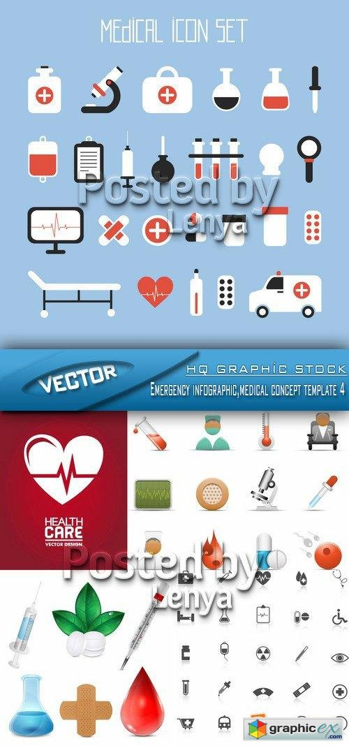 Stock Vector - Emergency infographic,medical concept template 4
