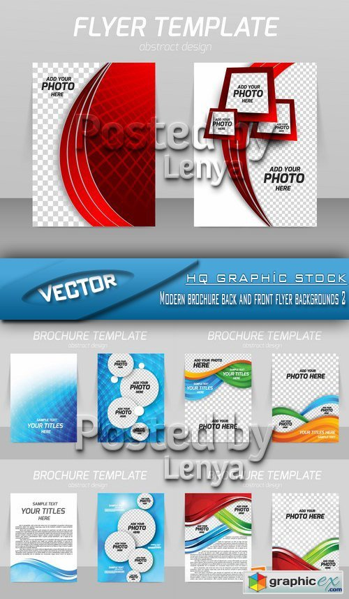 Stock Vector - Modern brochure back and front flyer backgrounds 2