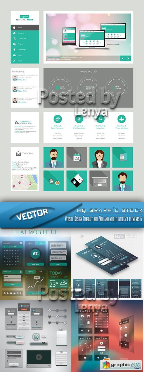 Stock Vector - Website Design Template with Web and mobile interface elements 6