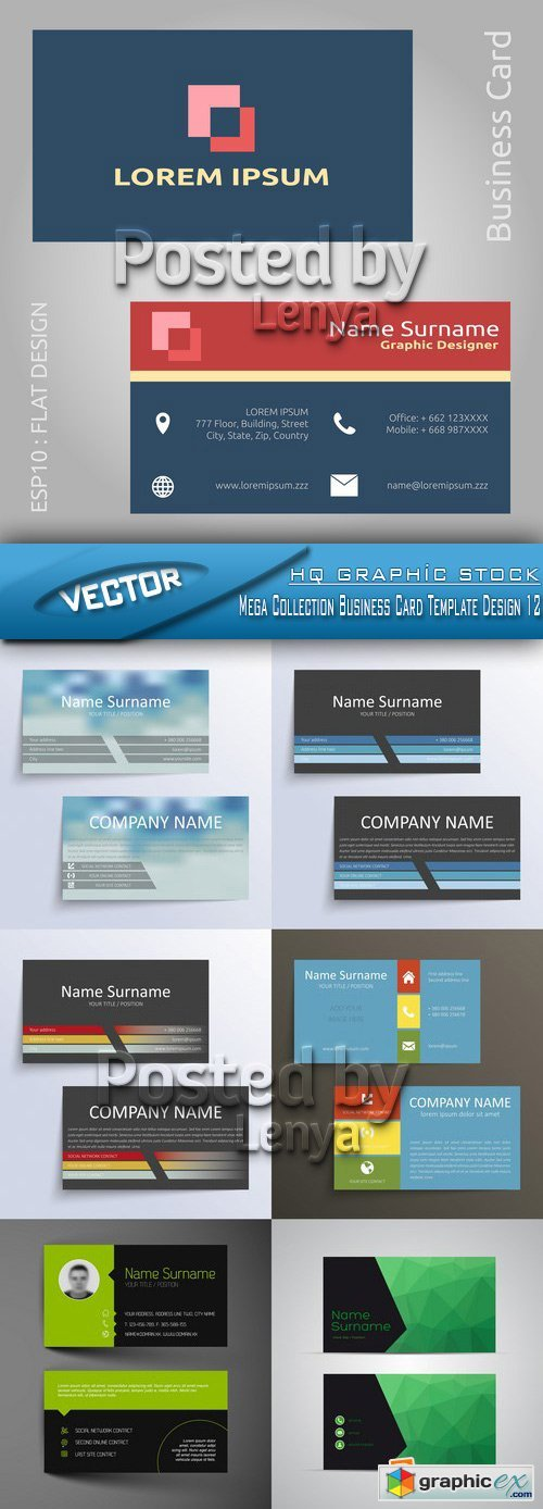 Stock Vector - Mega Collection Business Card Template Design 12