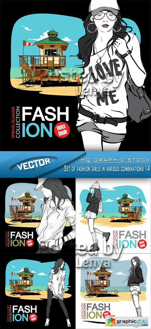 Stock Vector - Set of fashion girls in various combinations 14