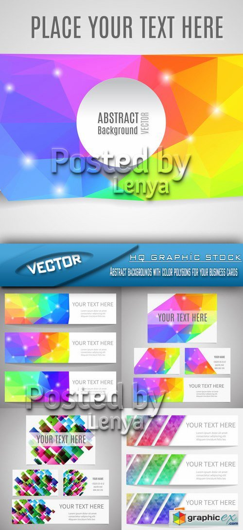 Stock Vector - Abstract backgrounds with color polygons for your business cards