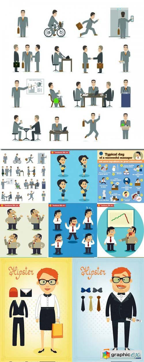 Stock Vectors - Business life, 25xEPS