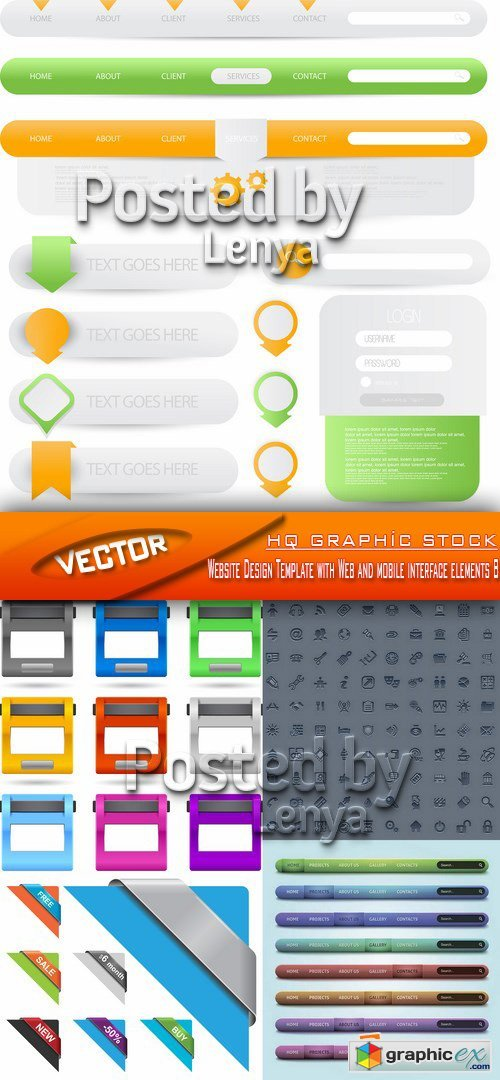 Stock Vector - Website Design Template with Web and mobile interface elements 8