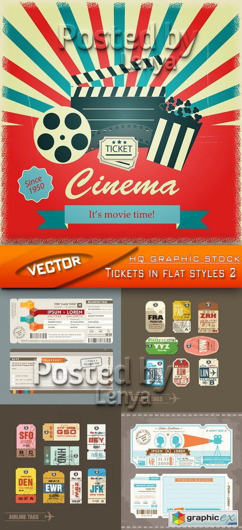Stock Vector - Tickets in flat styles 2