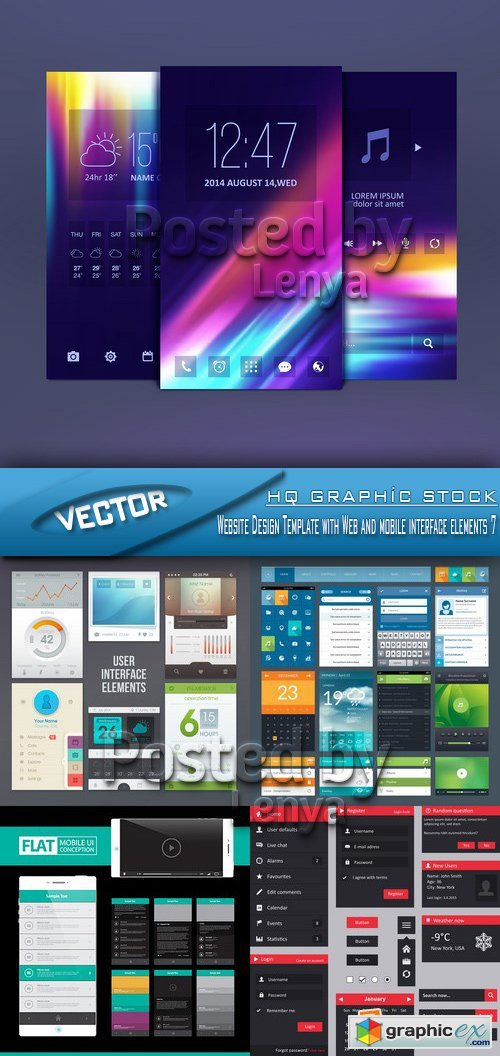 Stock Vector - Website Design Template with Web and mobile interface elements 7