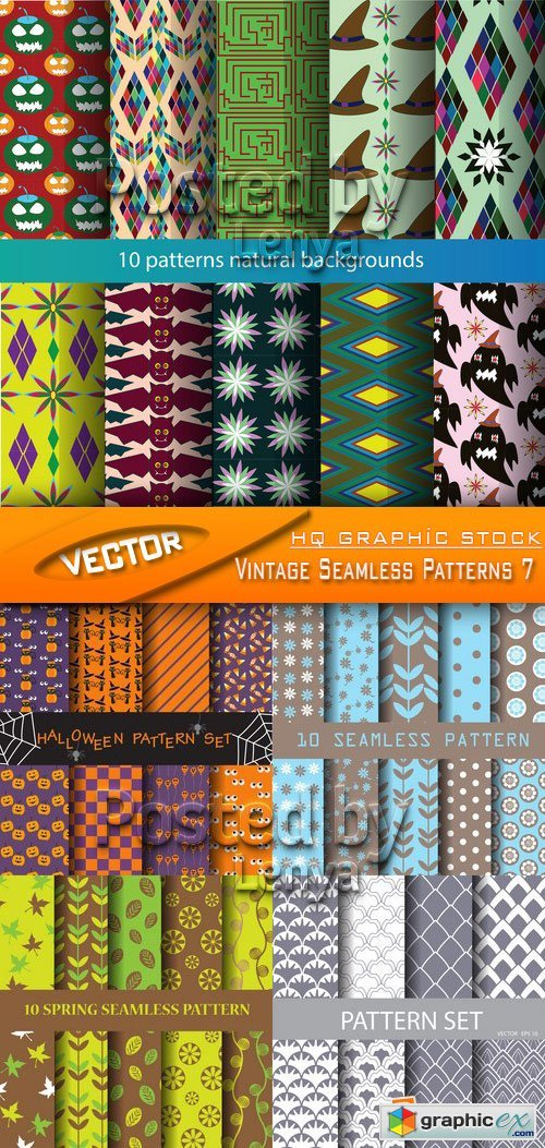 Stock Vector - Vintage Seamless Patterns 7