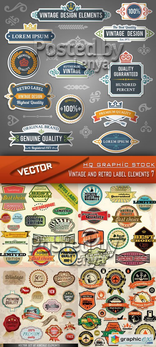 Stock Vector - Vintage and retro label elements 7