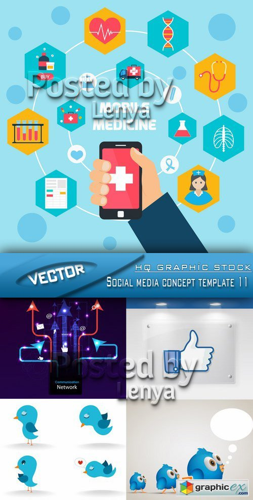 Stock Vector - Social media concept template 11
