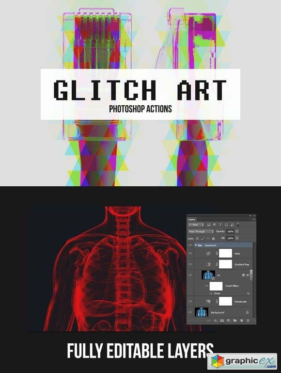 10 Glitch Art Photoshop Actions  39760