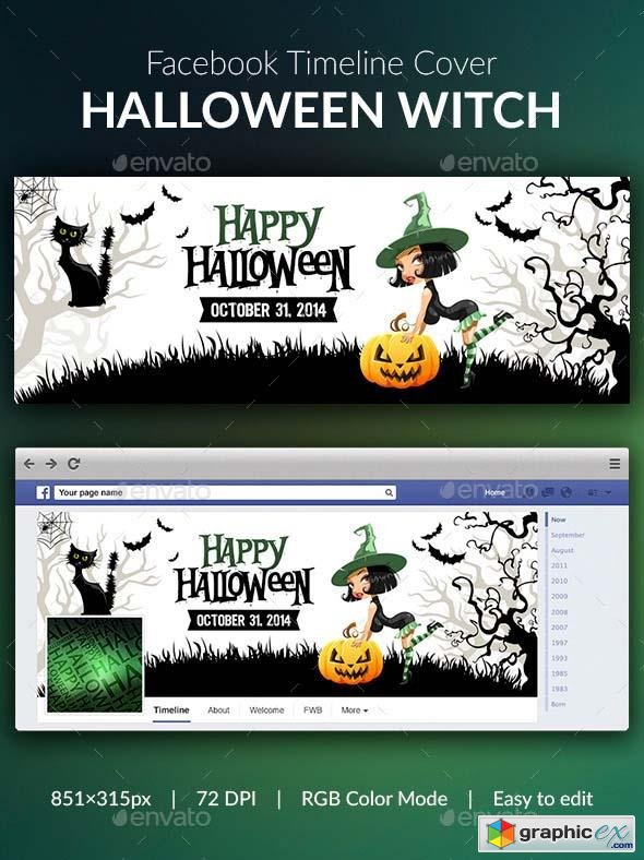 Halloween Witch Facebook Cover  9225688