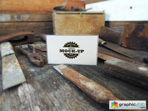 Vintage Style Business Card Mock-Up  99451