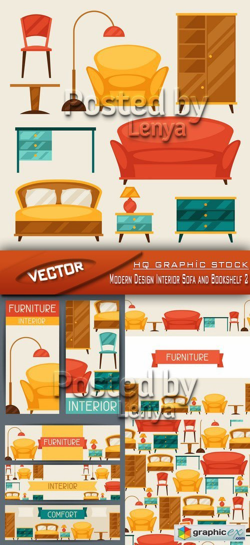 Stock Vector - Modern Design Interior Sofa and Bookshelf 2