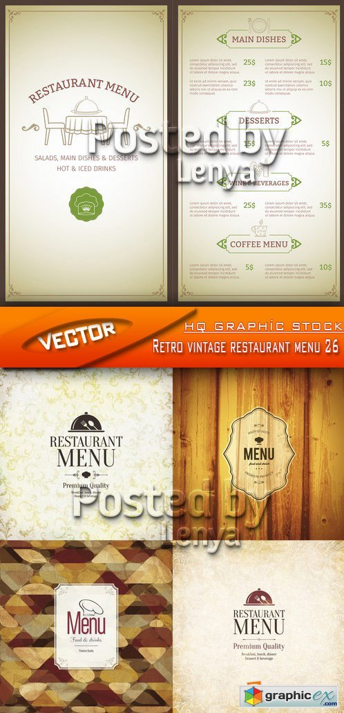 Stock Vector - Retro vintage restaurant menu 26