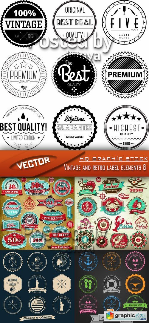 Stock Vector - Vintage and retro label elements 8
