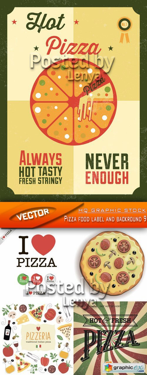 Stock Vector - Pizza food label and backround 9