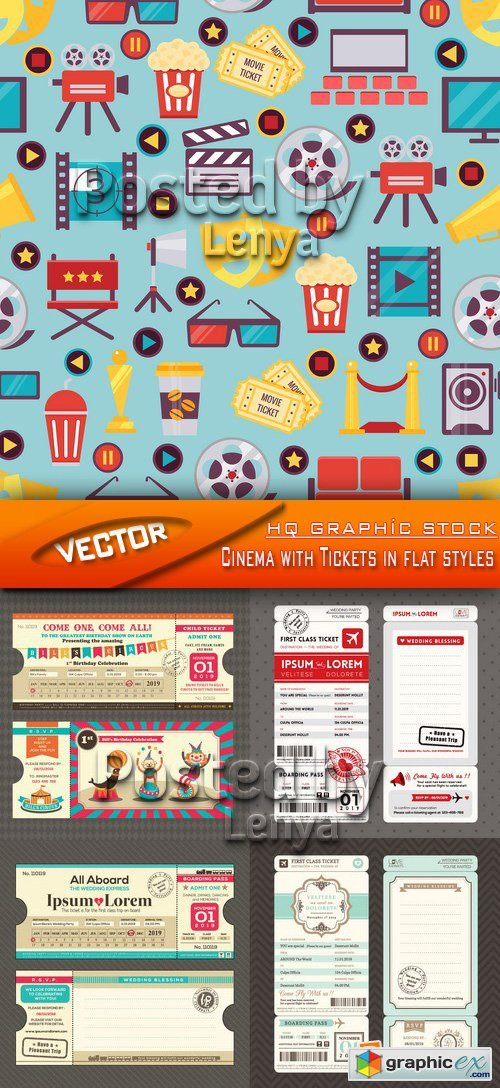 Stock Vector - Cinema with Tickets in flat styles