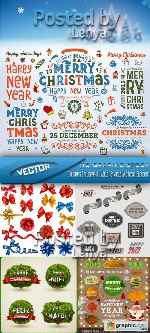 Stock Vector - Christmas Calligraphic Labels, Symbols and Icons Elements