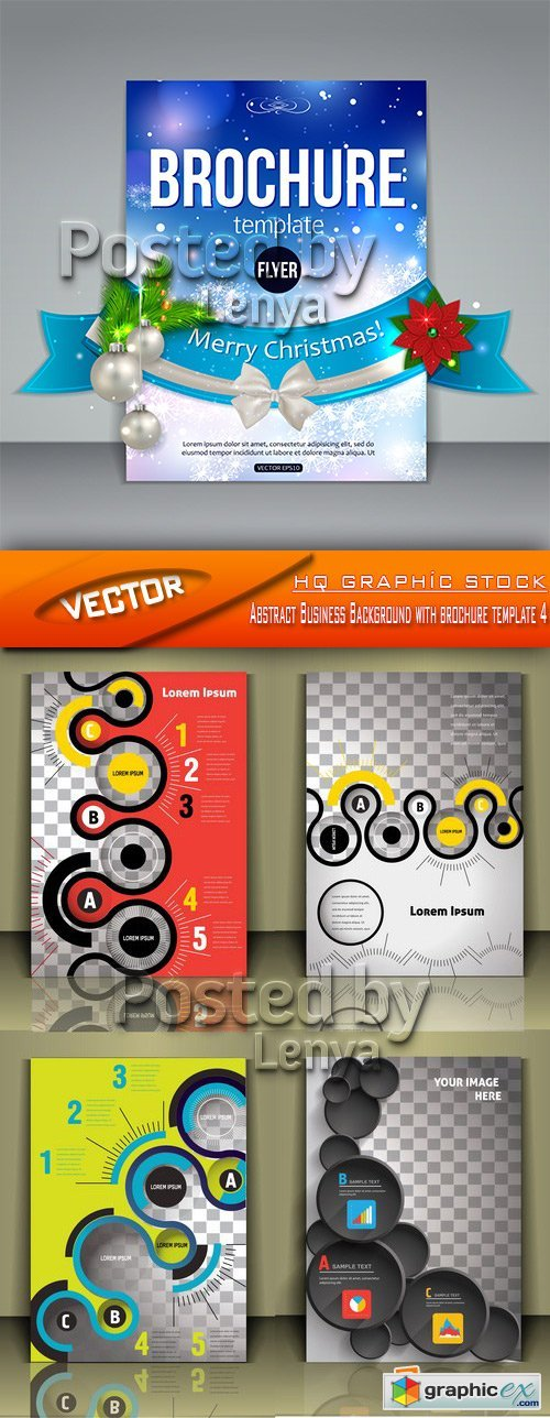 Stock Vector - Abstract Business Background with brochure template 4