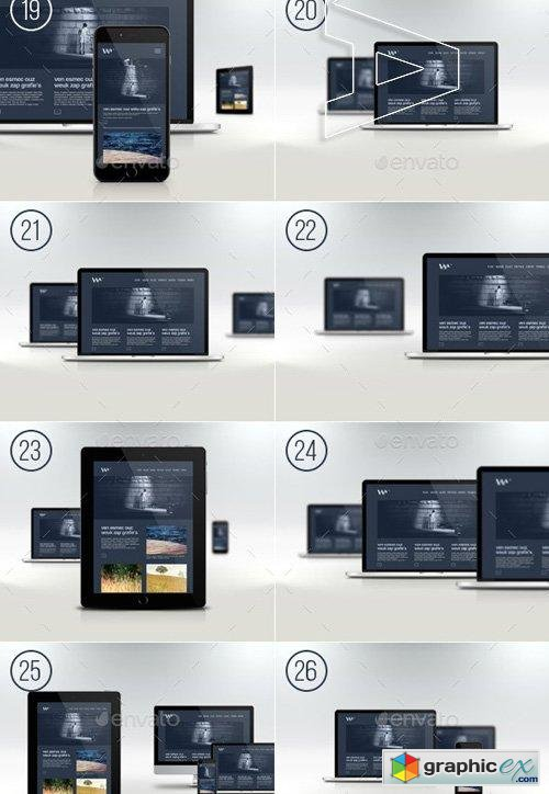 Responsive Website Devices & Screen Mockups 9356261