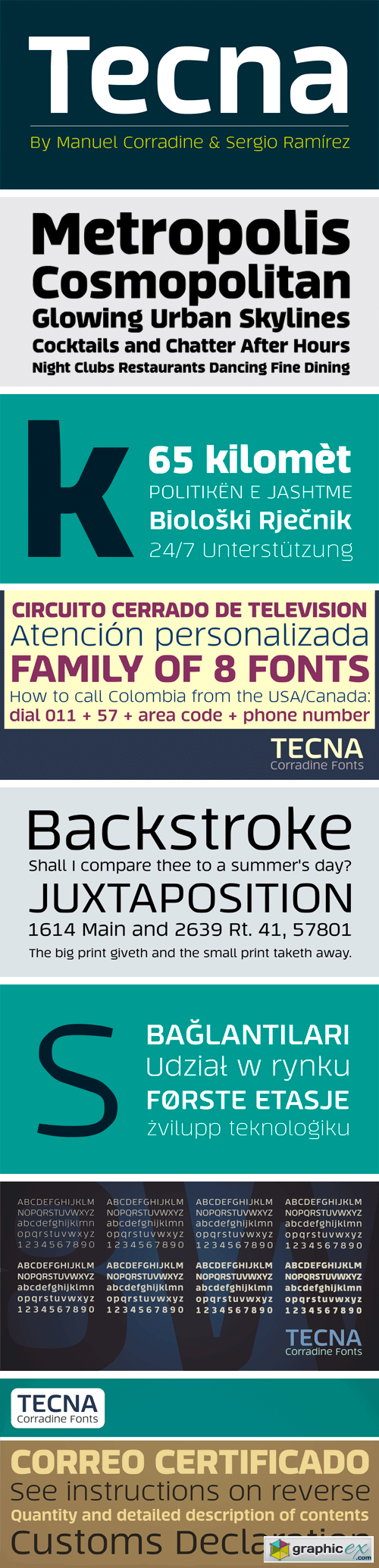 Tecna Font Family - 8 Fonts for $100