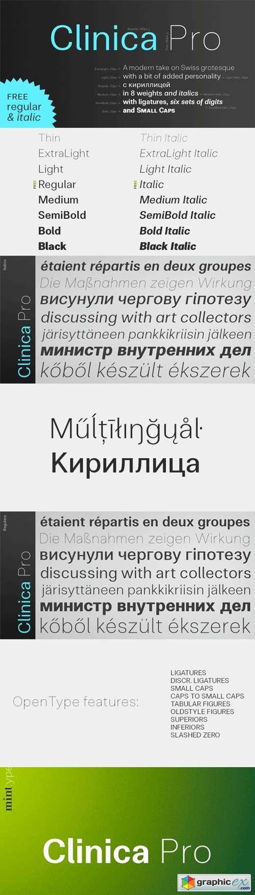 Clinica Pro Font Family - 16 Fonts for $280