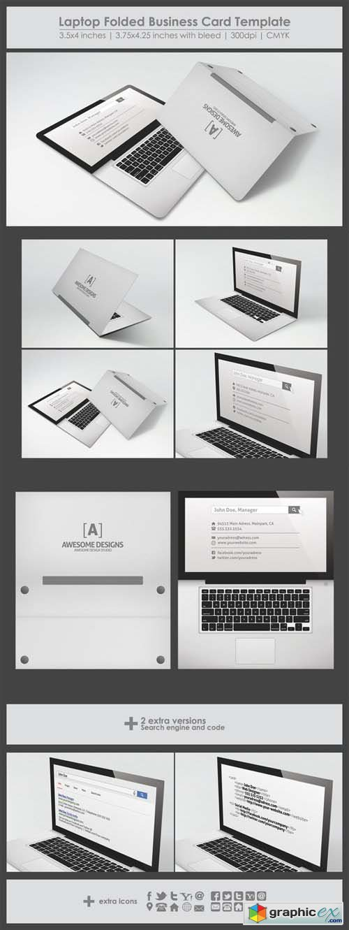Laptop folded business card template 27557 free download vector laptop folded business card template 27557 accmission Images