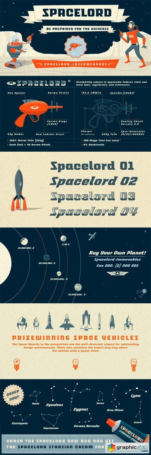Spacelord Font Family - 5 Fonts for $59