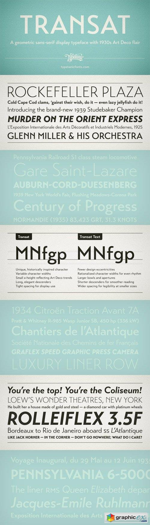 Transat Font Family - 10 Fonts for $72