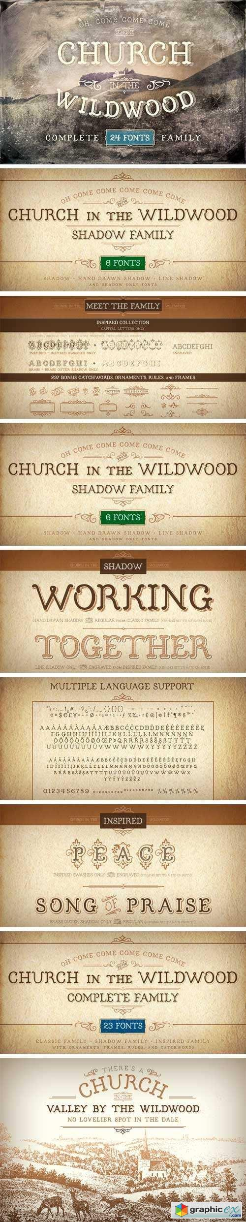 Church in the Wildwood Font Family - 24 Fonts for $40
