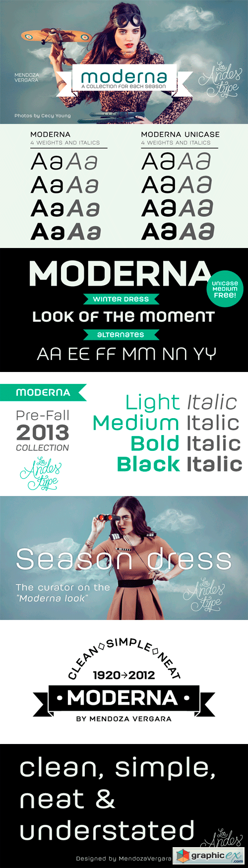 Moderna Font Family - 16 Fonts for $121