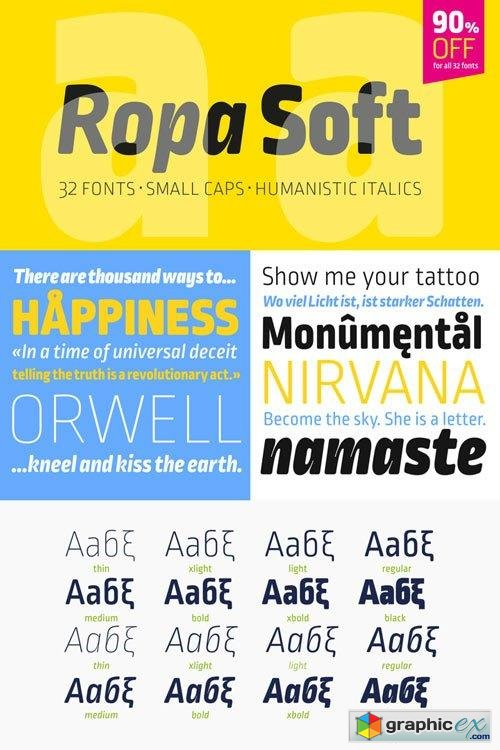 Ropa Soft Pro Font Family $29.90