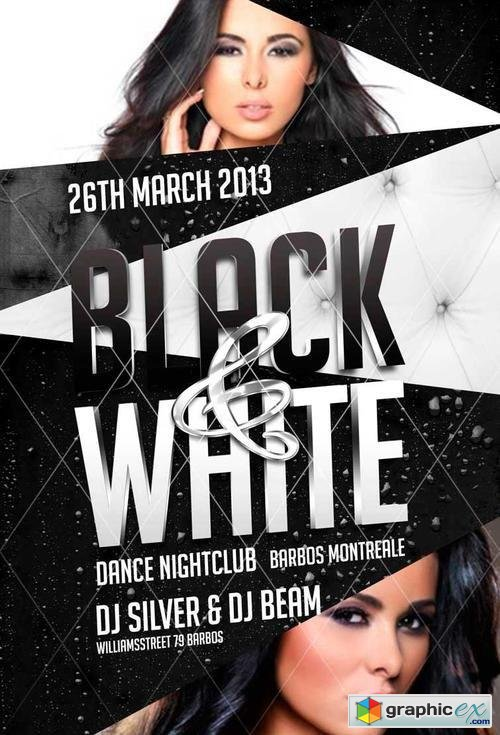 Black And White Party Flyer Template Free Download Vector Stock - Black and white flyer template free