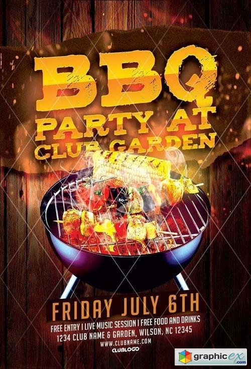 Bbq Party Flyer Template Free Download Vector Stock Image