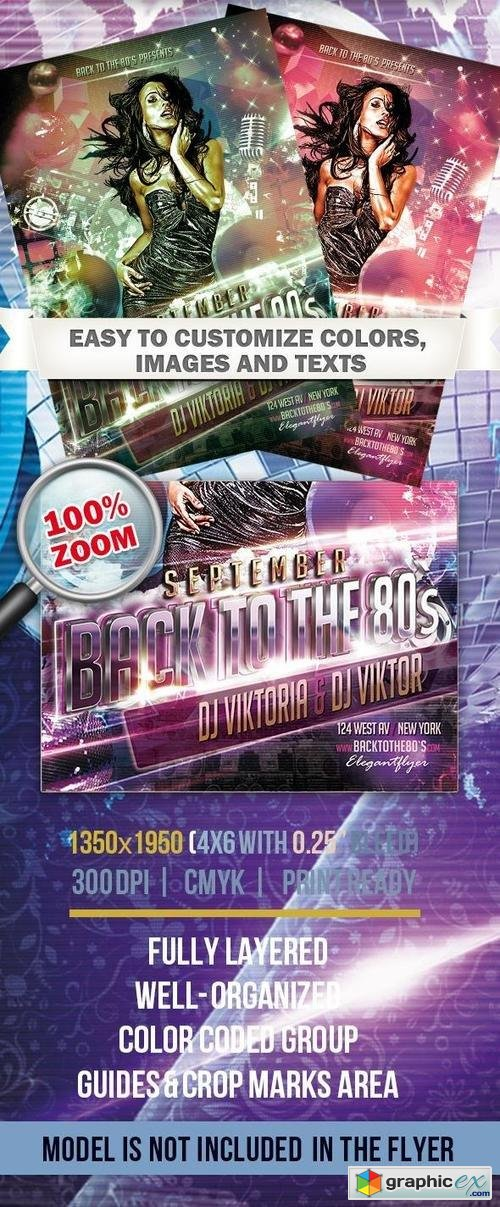 Back To The 80s � Club and Party Flyer PSD Template