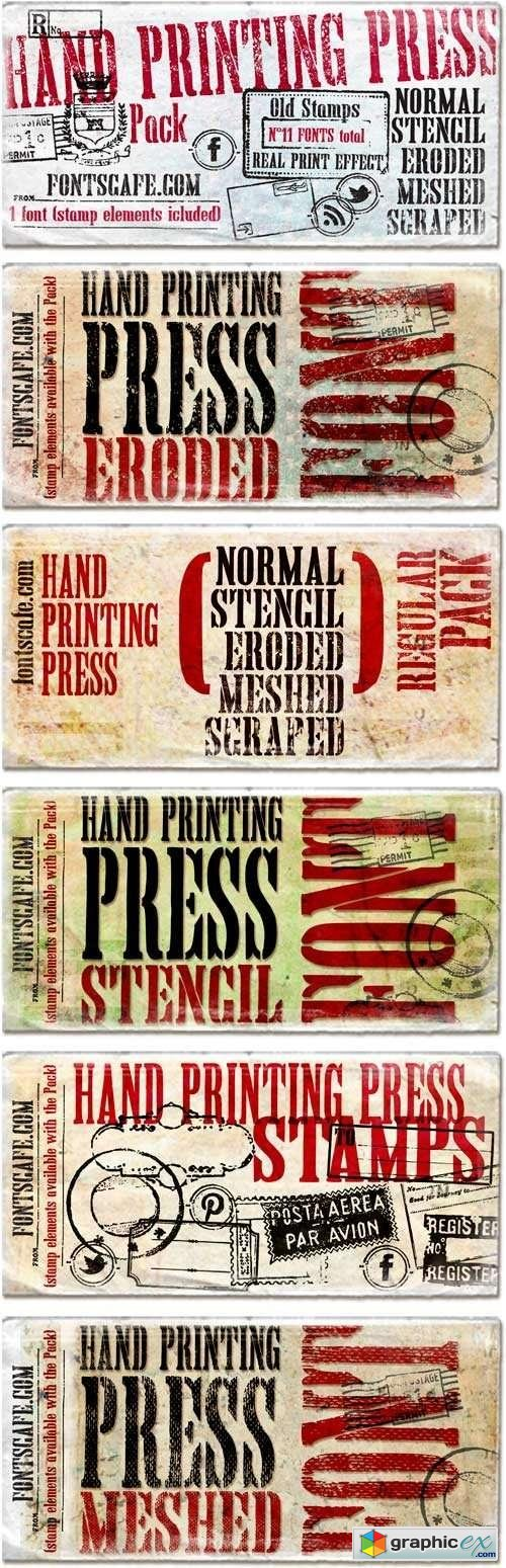 Hand Printing Press Font Family - 11 Fonts for $279