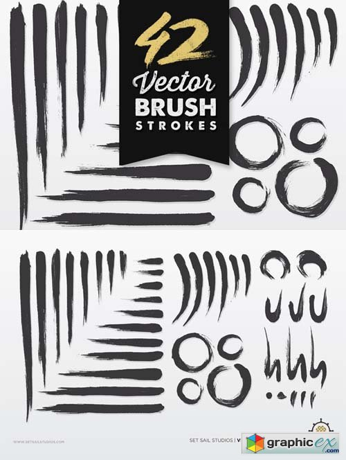42 Vector Brush Strokes 85386