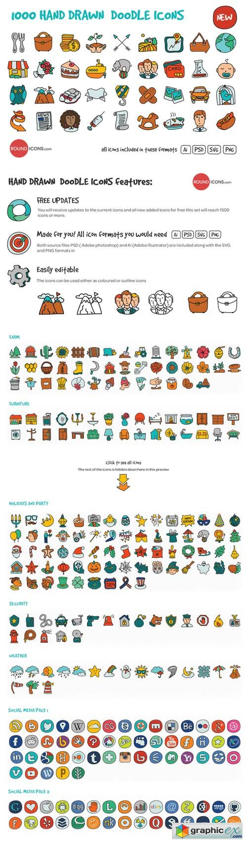 1000 Hand Drawn Doodle Icons