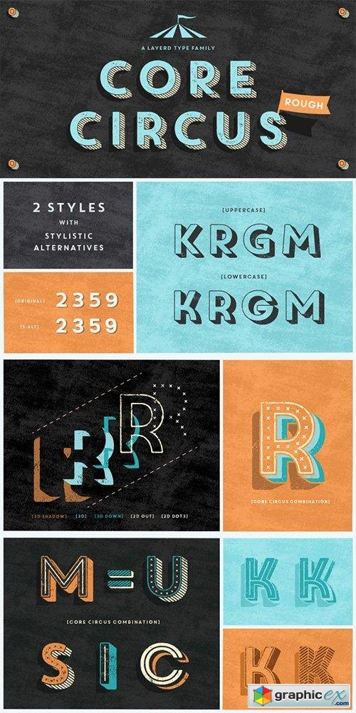 Core Circus Rough Font Family - 17 Fonts